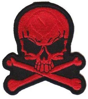 SKULL CROSS BONES RED Embroidered High Quality Biker Vest Patch