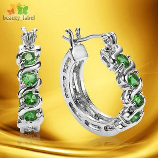 Sale lady jewelry GREEN EMERALD HOOP 18K WHITE Gold Plated FASHION