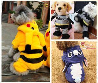 Winter Spring Pet Dog Cat Puppy Costumes Clothes Suit Batman Stitch