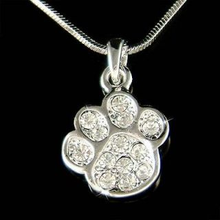 Crystal Cute Dog KITTY CAT Kitten ~Pawprint Paw Print Charm Necklace