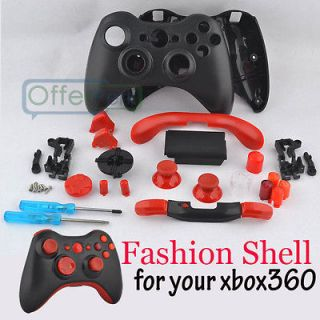 Hey Red Buttons and Cool Black Matte Shell For Xbox 360 Custom