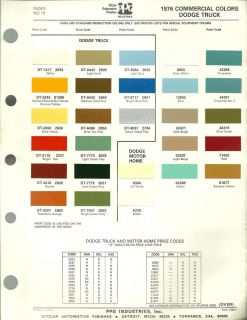 1976 DODGE TRUCK Color Chip Paint Sample Chart Brochure PPG