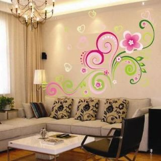 Heart Shaped Flower Vine Wall Sticker Decor Decals Removable Art