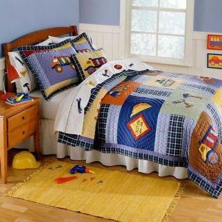 Bright Construction Truck Checker Patchwork Boy Full/Queen Bedding Set
