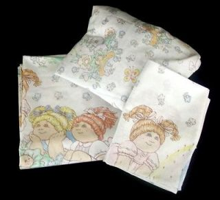 Patch Kids Vintage Twin Sheet Set Fitted Flat Pillow Case 1983 CPK