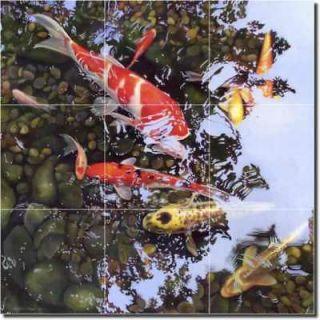 Macon Koi Fish Art Decor Ceramic Tile Mural Backsplash