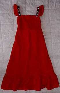 SUPER CUTE VINTAGE CHERRY RED DRESS FLUTTER SLEEVES PETITE