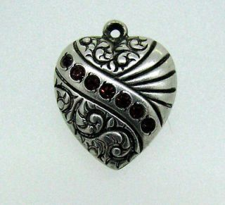Victorian Repousse Puffy Heart Seven Red Stone Sterling Silver Charm