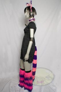Cheshire Cat Tail, Ears, Legwarmers, and Collar Set Cosplay Halloween