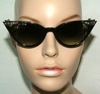 New Black with Crystals Cat Eye Sunglasses Retro Rockabilly