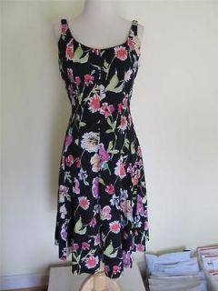 Chaps Ralph Lauren Sz 8 Black Floral Print Dress