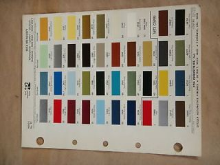 PPG DITZLER AUTOMOTIVE FINISHES EXTERIOR PAINT COLOR SAMPLE SHEET