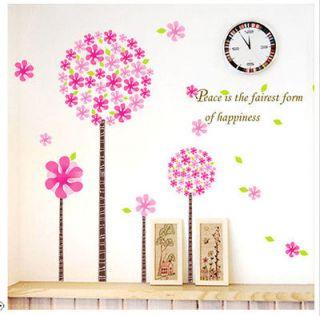 PINK PANDORA FLOWER TREE Girl Kids Bedroom Nursery Removable Wall