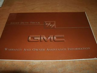 1999 GMC SONOMA YUKON JIMMY WARRANTY OWNERS MANUAL SUPP