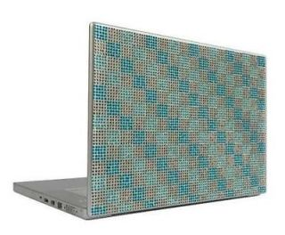 Aqua & Silver Checkers 15.4 Crystal Rhinestone Bling Laptop Cover Skin