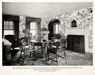 1926 Print Chinese Wallpaper Breakfast Nook Room Chairs Table James O