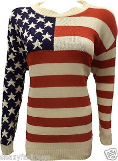Womens USA Long Sleeve Winter American Flag Cardigan Ladies Jumper Top