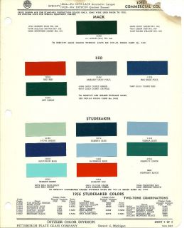 1955 STUDEBAKER TRUCK Color Chip Paint Sample Brochure/Chart  PPG