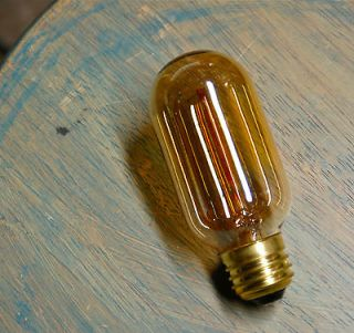 LOT 4 Radio Style Light Bulbs Tubular Smoked Amber Glass Vintage