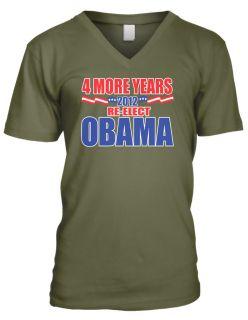 More Years 2012 Re elect Obama  Barack Obama President Mens V neck