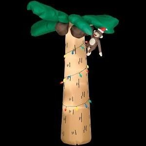 ft Palm Tree with Lights Monkey Christmas Airblown Inflatable