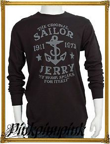 Sailor Jerry Tattoo Logo My Work Speaks Mens Thermal Shirt Black Punk