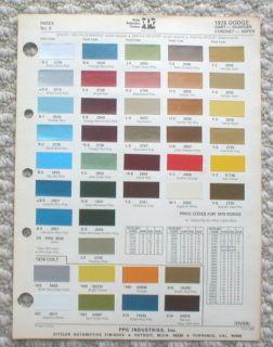 1976 DODGE Color Chip Paint Sample Chart Brochure PPG
