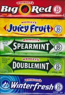 Wrigleys Chewing Gum 10 Packs   Big Red Juicy Fruit Spearmint