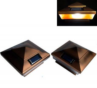 Pack Copper Finish Post Deck Fence Cap Solar Lights With 5 Amber LEDs