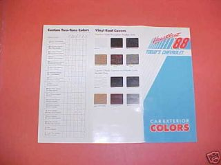 1988 ORIGINAL CHEVROLET CAR CAMARO COLOR PAINT CHIPS CHART DEALER
