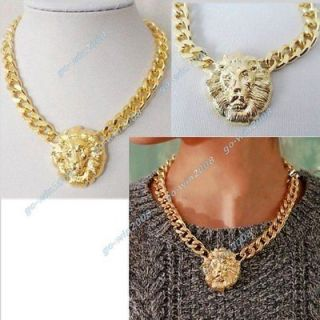 Metal Chunky Lion Head Necklace Gold Tone Bib Chain Choker Collar