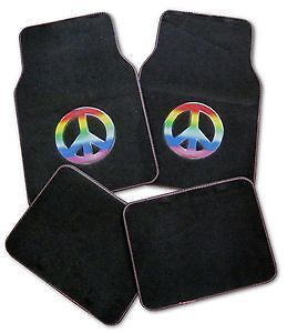 Sign Symbol Hippie Mulitcolor Car Carpet Floor Mats (Fits Dodge Neon