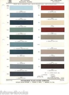 1963 Chrysler & Imperial PPG Ditzler Paint Color Chip Card Body Paint