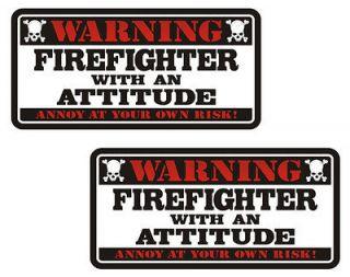 Warning Attitude Rescue Helmet Vinyl Sticker Decal 3 SET (2) WS3