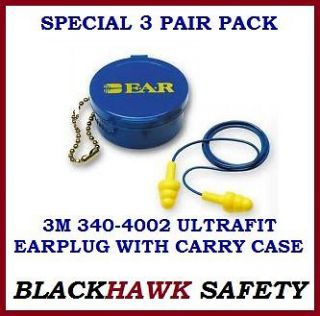 PAIR PACK 3M E.A.R. 340 4002 ULTRAFIT EAR PLUG WITH CORD AND CASE