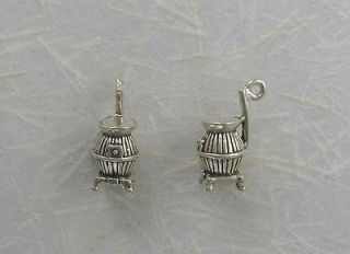 Sterling Silver POT BELLY STOVE Charm 3 D