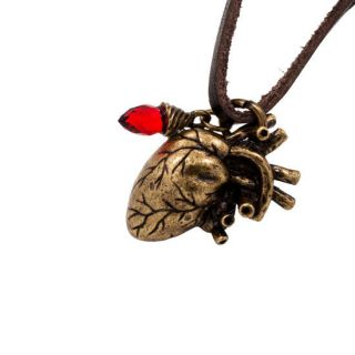 Anatomical Heart Antique BRONZE Pendant BROWN Leather Necklace
