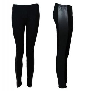 NEW WOMENS PLUS SIZE STRETCHY BLACK WET LOOK PANELLED LEGGINGS SIZE 14