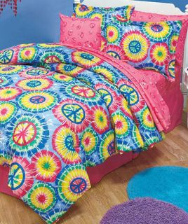 TIE DYE PEACE SIGN BEDDING COLLECTION COMFORTER & SHEET SETS IN TWIN