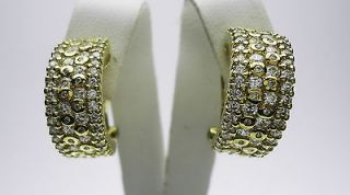 YELLOW GOLD PLATE STERLING SILVER ROUND WHITE CZ OMEGA BACK EARRINGS