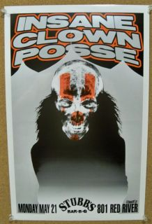 Stubbs Austin Tx Concert Poster Insane Clown Posse Detroit Hip Hop Duo