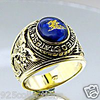 UNITED STATES NAVY SEAL MILITARY MENS RHODIUM RING  SIZE