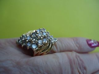 DIMOND AMAZING CLUSTER COCTAIL 14 K SOLID YELLOW GOLD RING   4,3 GRAMS