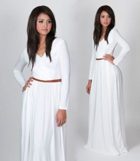 NEW Womens White VNeck Long Sleeve Cocktail Evening Party Maxi Dress