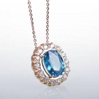 14K ROSE PINK GOLD ZIRCON DIAMOND SOLITAIRE PENDANT
