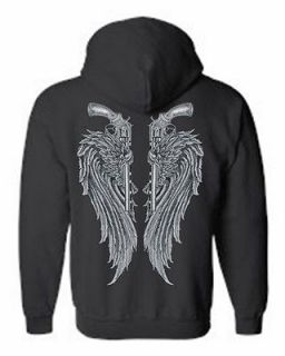 ZIP UP HOODIE Grey Pistols with Angel Wings S XL 2X 3X 4X 5X 8 COLORS