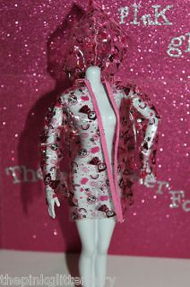 Barbie Liv DOLL SIZE clear pink black plastic hoodie raincoat jacket