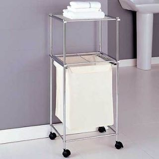 Rolling 2 Tier Chrome Laundry Cart w/ Laundry Bag   New