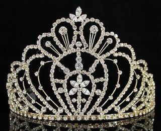 RHINESTONE CRYSTAL CROWN TIARA W/ COMBS PAGEANT PROM BRIDAL H469 GOLD