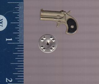 GUN LAPEL PIN: REMINGTON DOUBLE DERRINGER POCKET PISTOL Pinback Metal